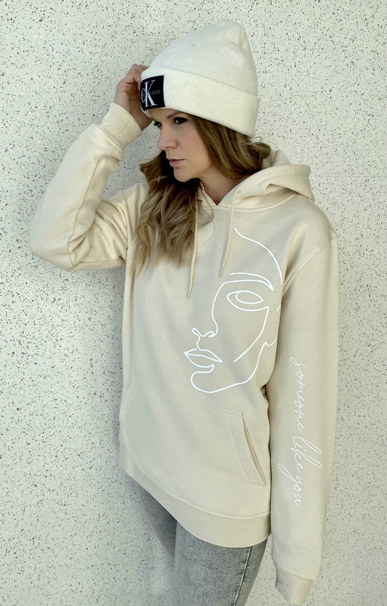 """Hoodie One Line Art """"Face"""" Farbe Sand"""